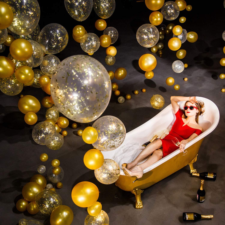 Palloncini di Coriandoli Oro Decorazioni per Capodanno,Matrimoni Compleanni e Laurea Confetti Balloons Palloncino Transparente con Coriandoli dOrati
