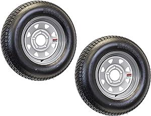 2-Pk Trailer Tire On Rim ST175/80R13 175/80 13 LRD 5-4.5 Silver Spoke Wheel