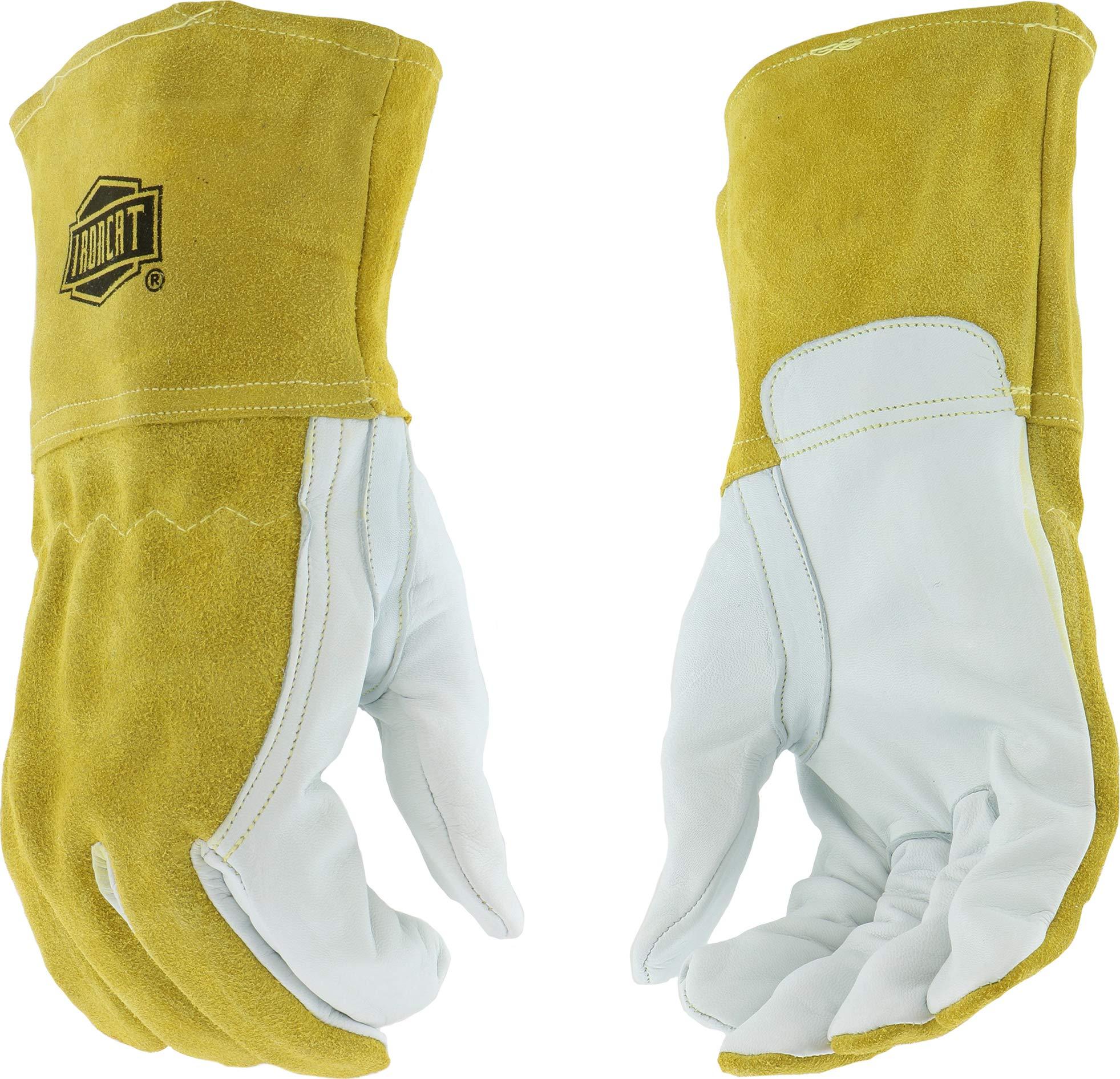 West Chester IRONCAT 6143 Premium Grain Goatskin Leather Palm, Split Cowhide Leather Back MIG Welding Gloves: Medium, 12 Pairs