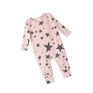 4664d0e4009 Newborn Infant Baby Girl Playsuit in Blush Pink Long Sleeve Romper with  Stars Print Playsuit (