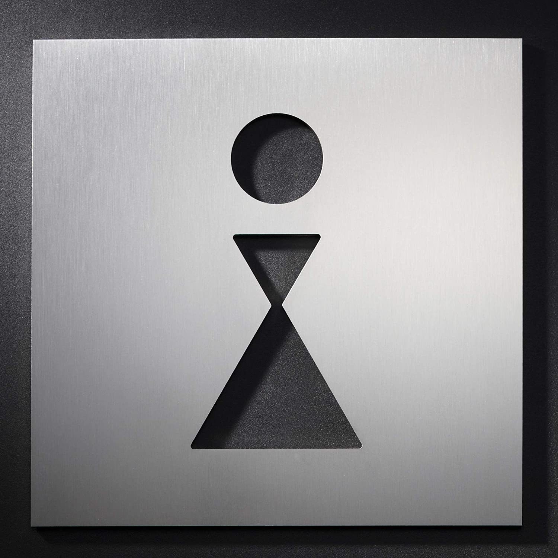 Toilettenschild echter Edelstahl matt geschliffen PHOS Edelstahl Design Symbol selbstklebend PS0401 16 x 16 cm 2 mm Materialst/ärke WC T/ürschild Frau