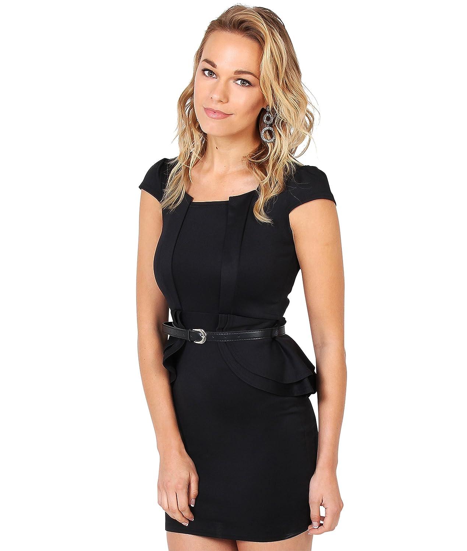 KRISP® Damen Mini Kleid Mit Schößchen Kontrastfarben Inkl Gürtel Gr 36 38 40 42 44 46 48