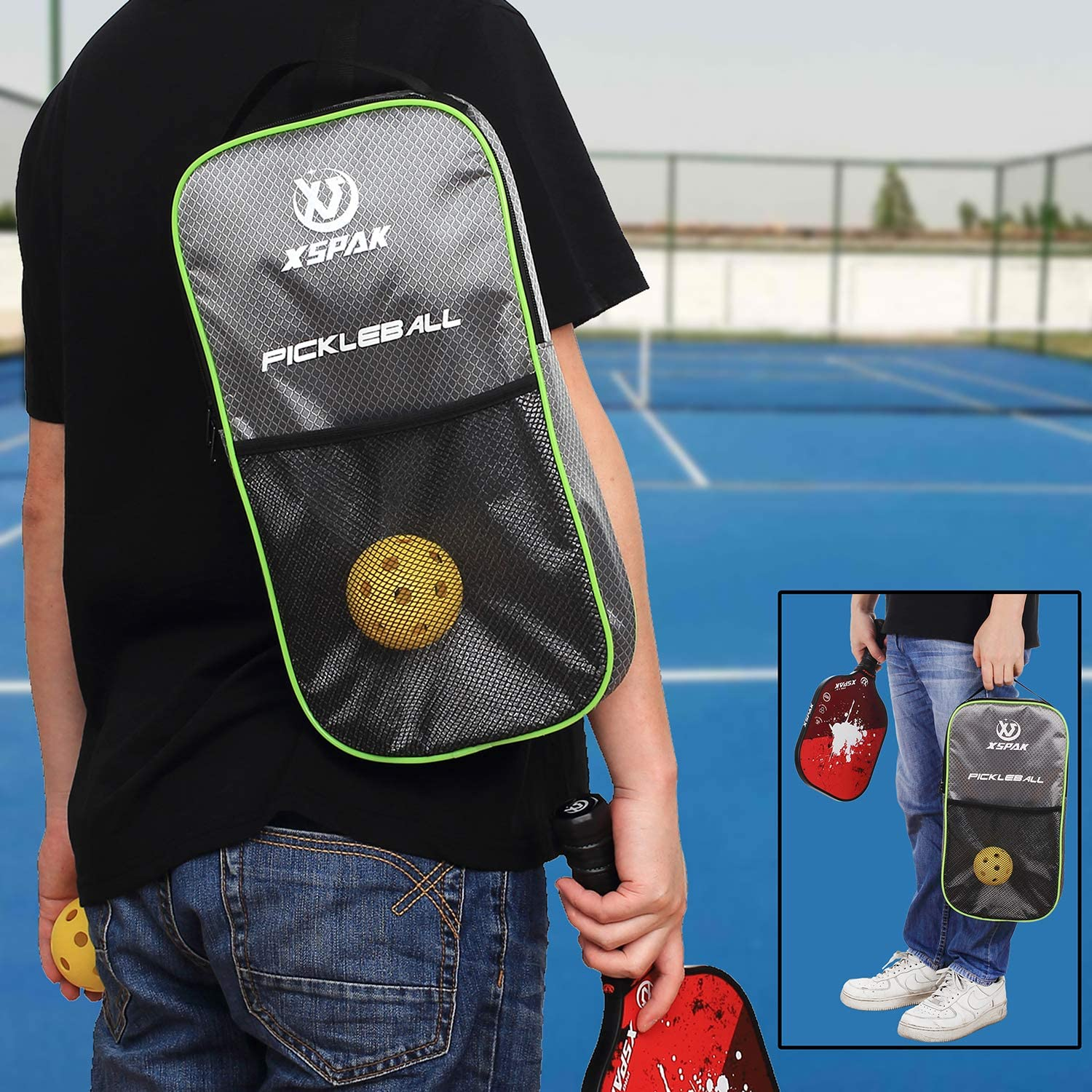 XS XSPAK Pickleball Paddles Set, Lightweight Graphite Paddles Sets of 2 Including Bag and 4 Indoor Balls, USAPA Approved : Sports & Outdoors