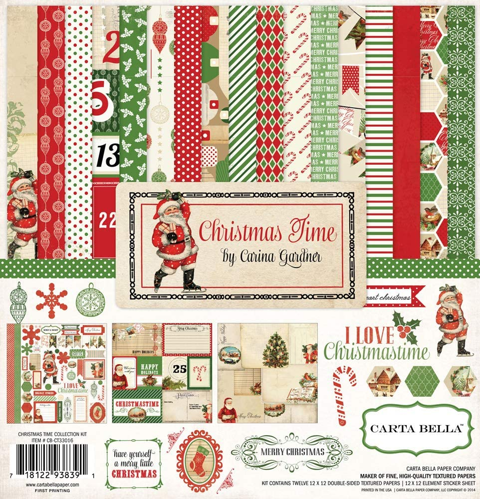 Snowmen Echo Park Reindeer Presents Green Christmas Trees Ornaments Natural//Wood Grain Plaid Snowflakes Black A Perfect Christmas 12x12 Scrapbooking Kit Red Poinsettias and White