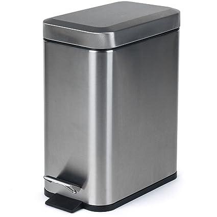 Salter BW06667 - Cubo de Basura Rectangular con Pedal de baño (5 L, Acero Inoxidable, 30 x 14)