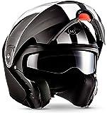 """MOTO · F19 """"Racing Black"""" (Schwarz) · Modular-Helm · Klapp-Helm Motorrad-Helm Integral Roller Scooter Flip-up · ECE certified · Separate Visors · Click-n-Secure™ Clip · Tragetasche · L (59-60cm)"""