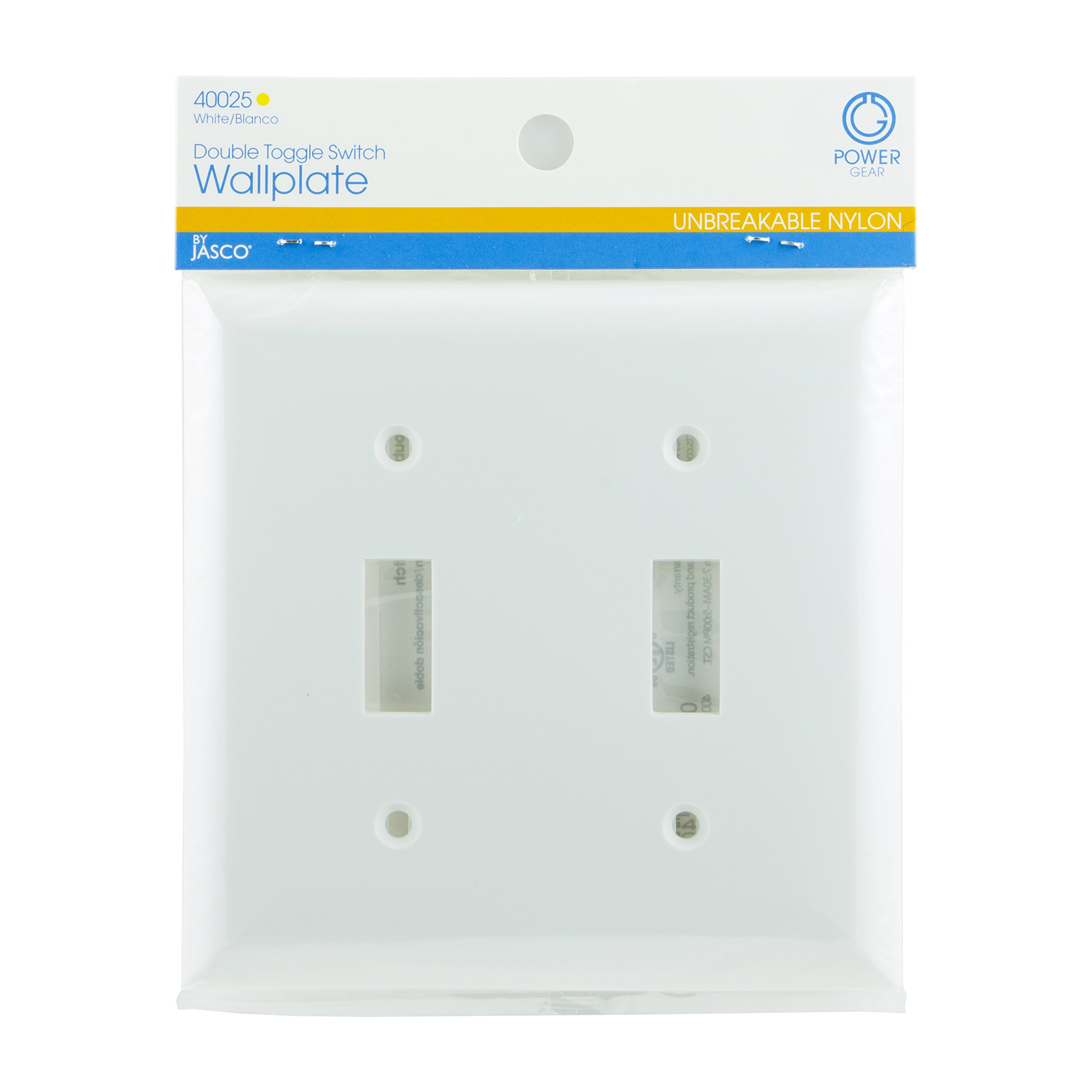 Power Gear Double Toggle Switch Wallplate, White, Unbreakable Nylon, Screws Included, UL Listed, 40025 by Power Gear (Image #2)