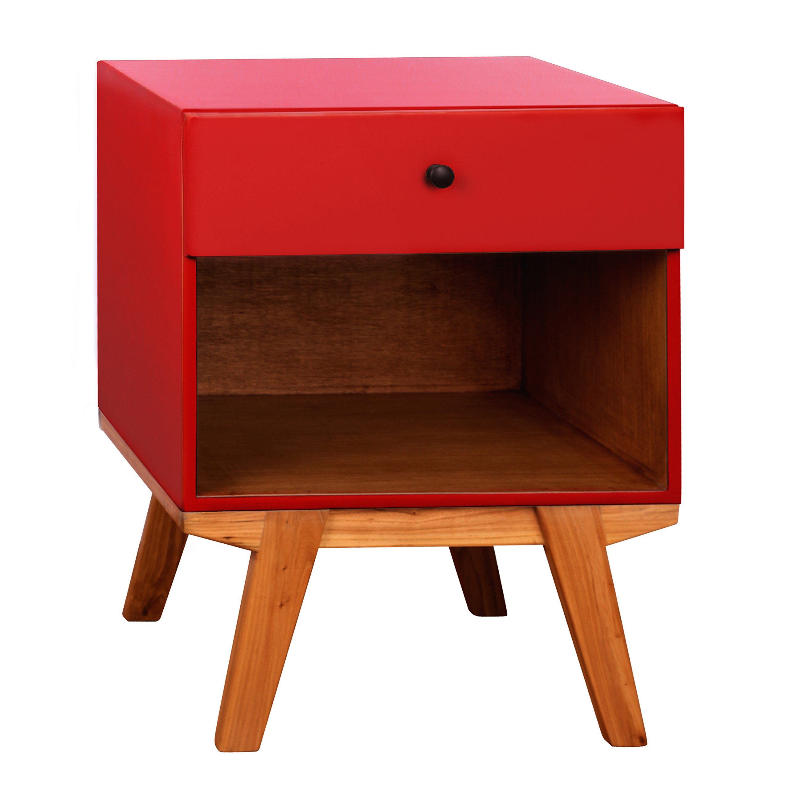 Porthos Home Clementine 1 Drawer Nightstand, Red