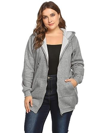42e5f92ab8c4d IN VOLAND Involand Women Casual Zip up Fleece Hoodies Tunic Sweatshirt Long  Hoodie Jacket Grey