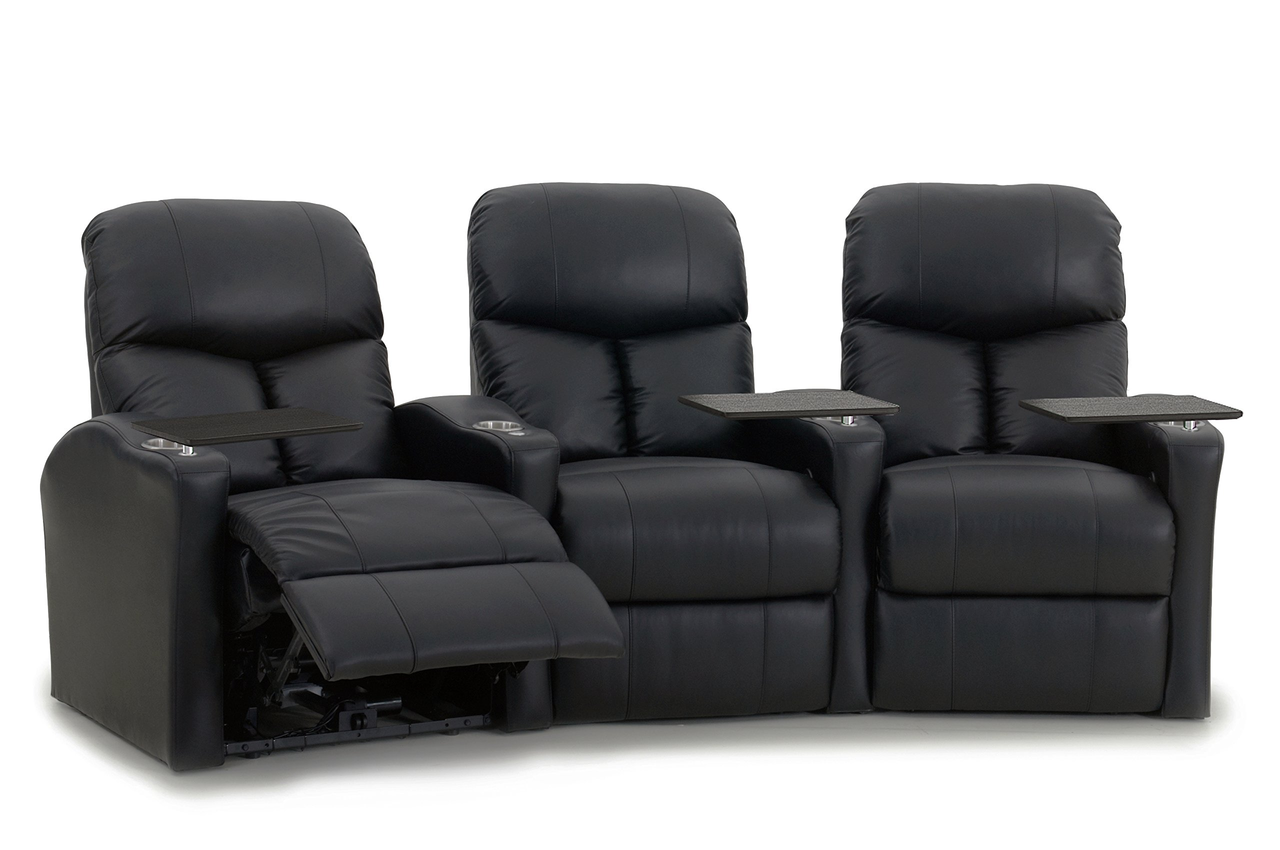 Octane Seating BOLT-R3CM-BND-BL Octane Bolt XS400 Leather Home Theater Recliner Set (Row of 3)