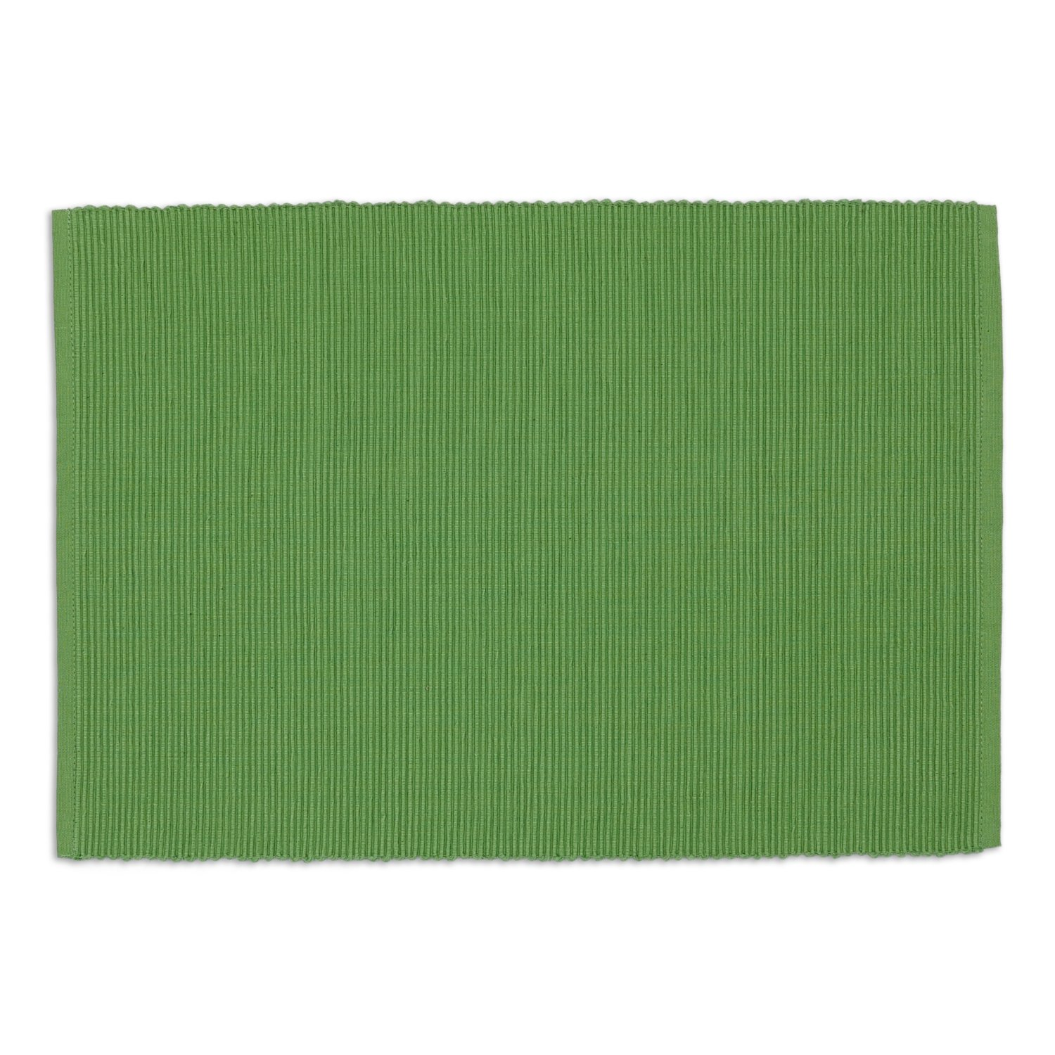 DII Washable Ribbed Cotton Placemat, Set of 6, Fig Green - Perfect for Fall, Dinner Parties, BBQs, Christmas, Weddings and Everyday Use