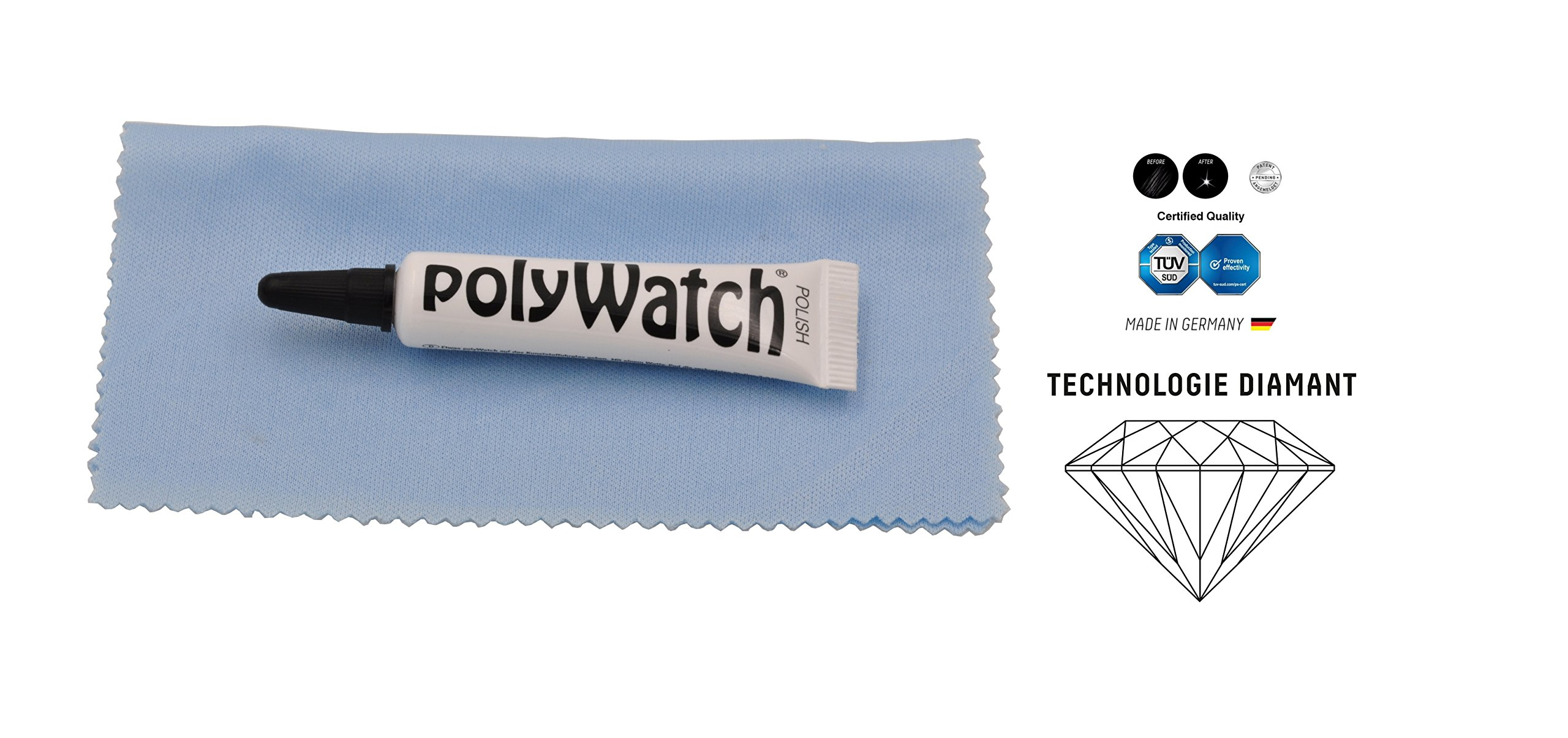 Polywatch Poly Watch Plastic Crystal Glass Polish & Scratch Remover Repair Tool Set With Cloth