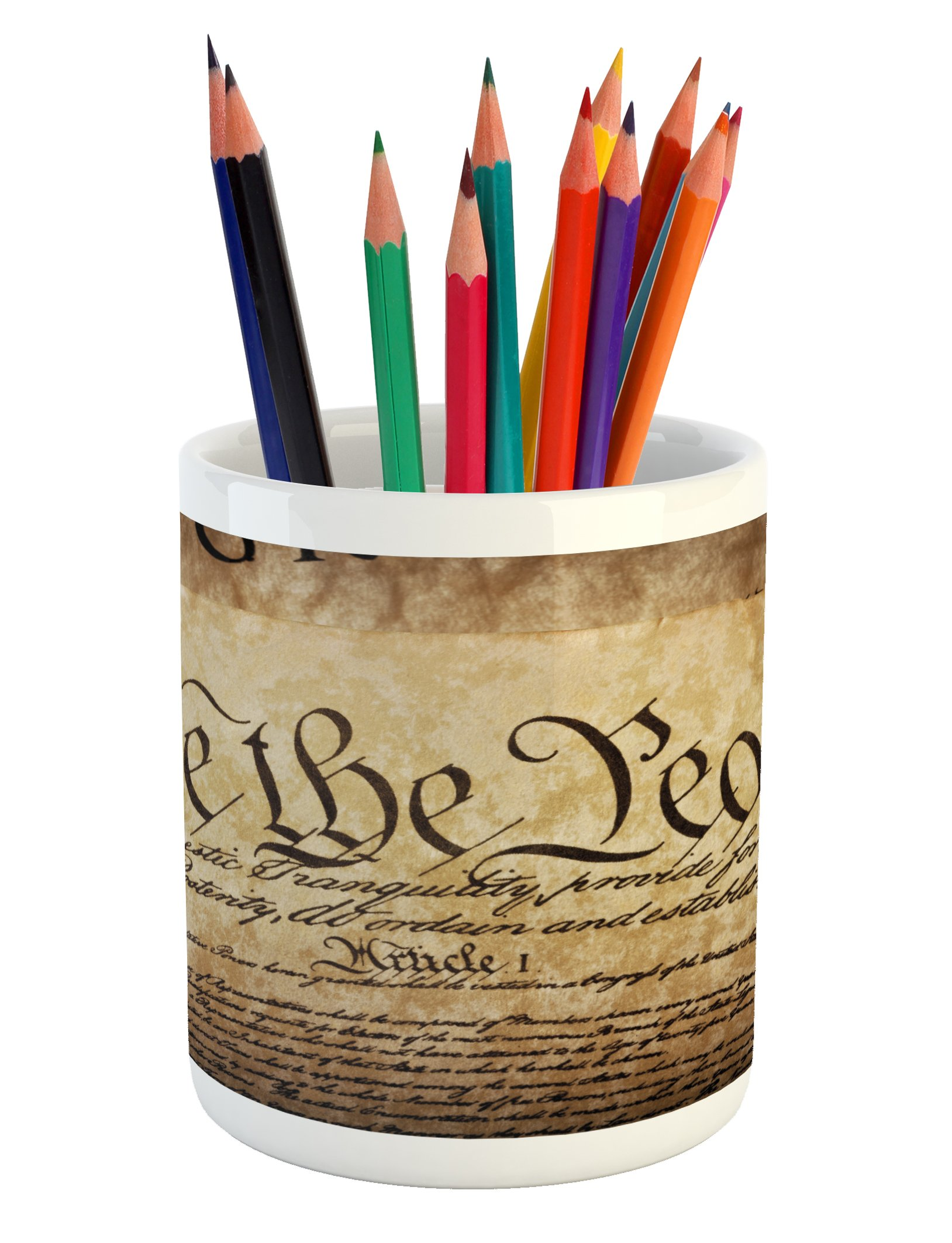 Ambesonne United States Pencil Pen Holder, Vintage Constitution Text of America National Glory Fourth of July Image, Printed Ceramic Pencil Pen Holder for Desk Office Accessory, Pale Brown