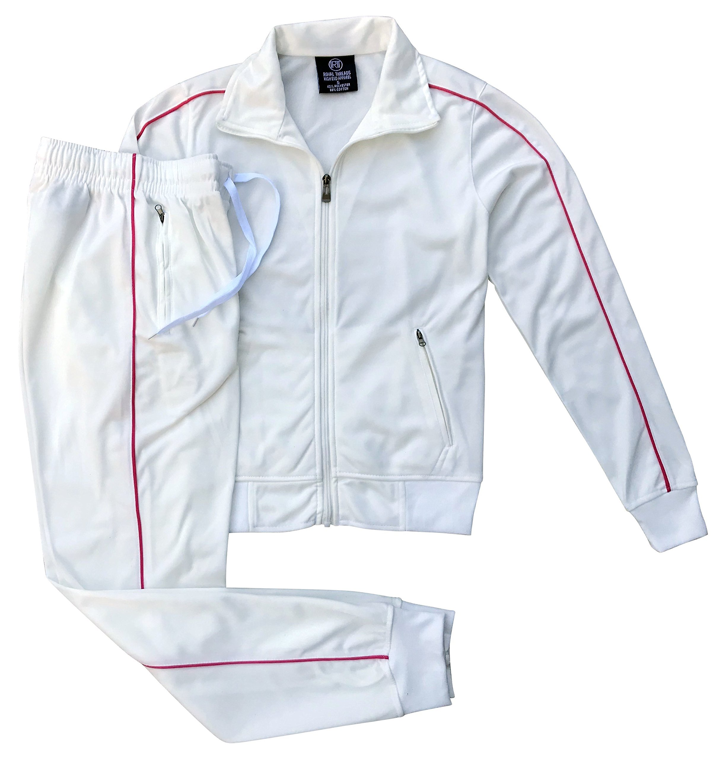 Women's Athletic Sports Exertion Tracksuit Outfit Trackpant and Track Jacket Jogger Gym Casual Wear Set (White, L)