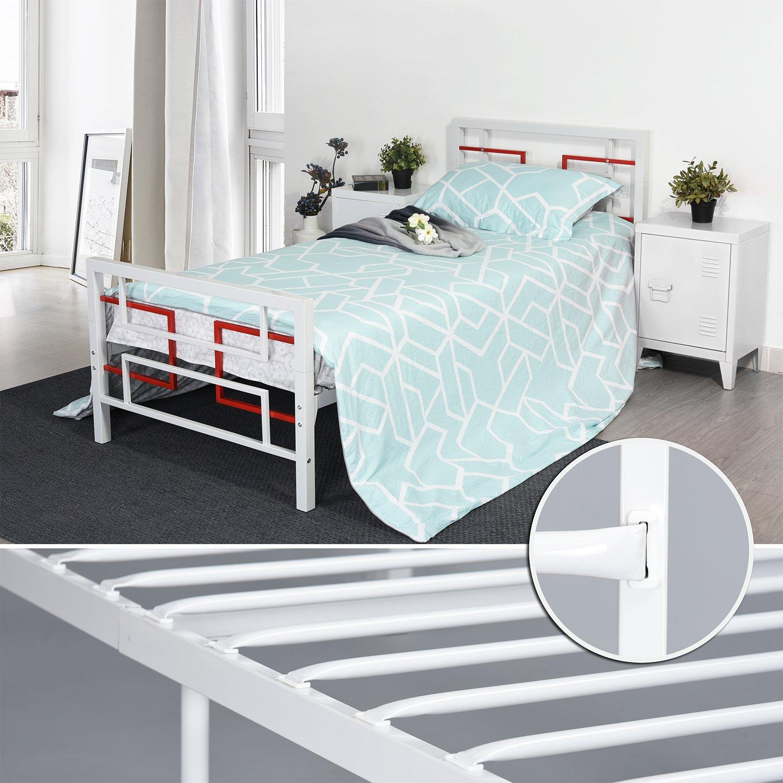 Bianco Aingoo Singola Piattaforma di Metallo a 3 Piedi Telaio in Metallo Massiccio a Tubi Quadrati con Testata e pediera