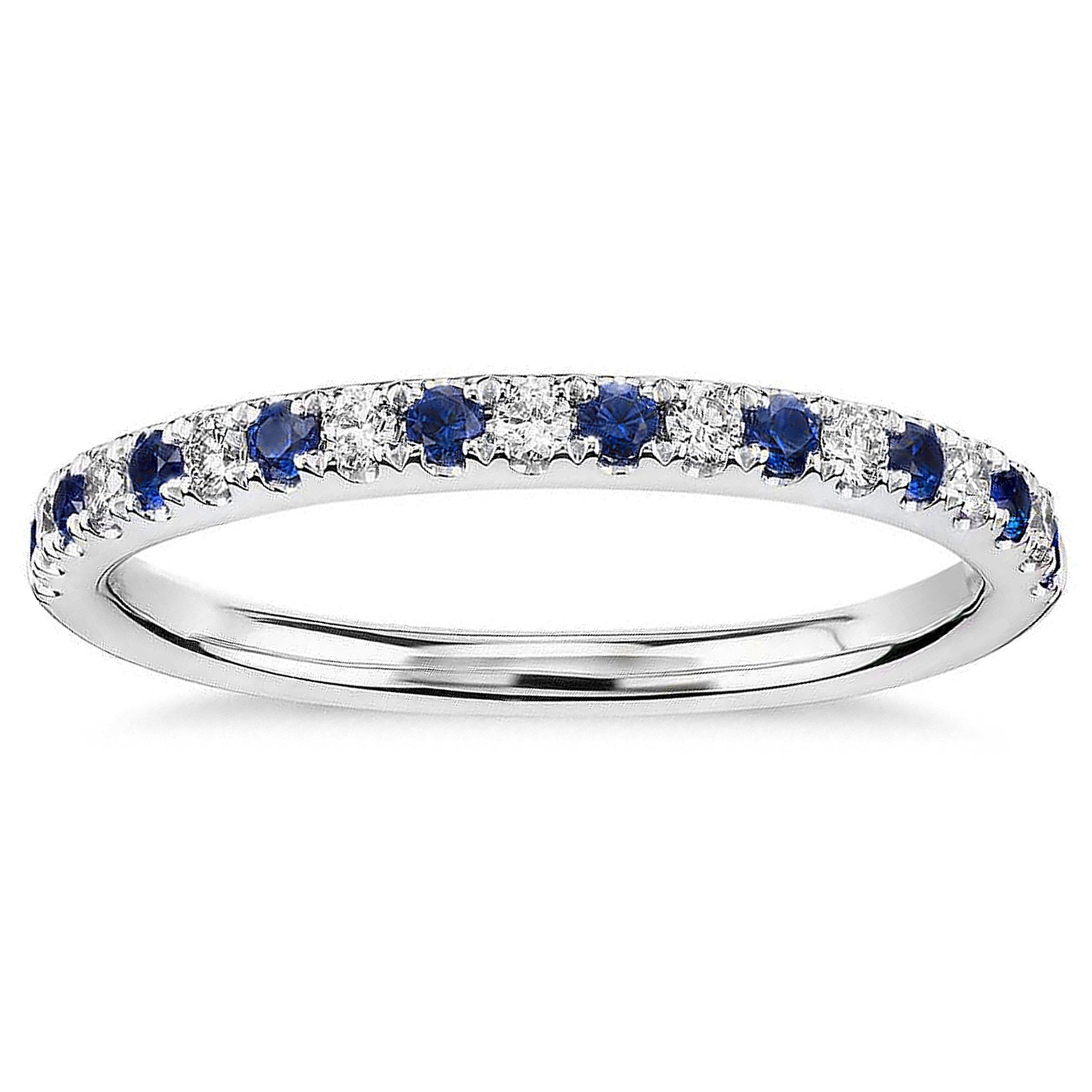 0.60 CT. Round Natural White Diamond & Blue Sapphire Wedding Band 10K White Gold For Women