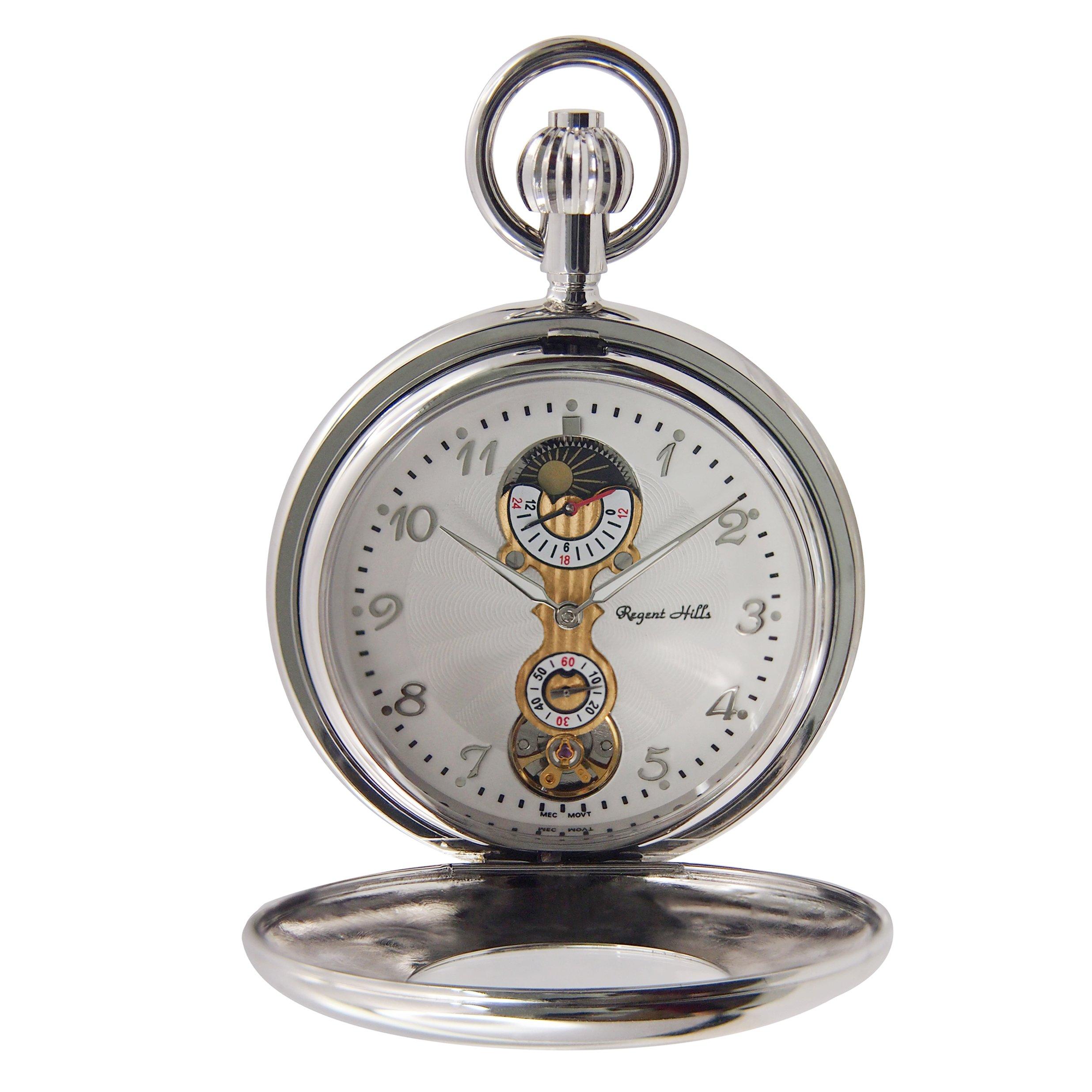 | Regent Hills Vintage Silver Mechanical Half Hunter Skeleton Pocket Watch With Chain 77602CP-TW1