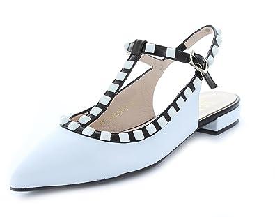 super popular 7ab15 4ec92 Lodi Damen Sling-Ballerina spitz T-Spange weiß-schwarz Leder