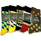 Men's Dress Socks, Colour & Pattern, Comfortable, One-Size-Fit-All By Monté