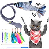 CHOOBY Cat Toy, Interactive Catnip Cat Teaser Fish Toys, 8 Pcs Bird Feathers Worms Bells Kitten Supplies with Retractable Wan