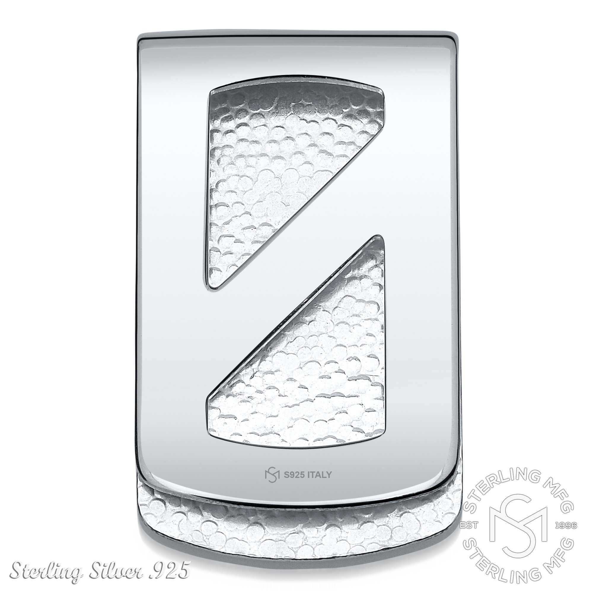 Sterling Silver .925 Wide Solid Design Engravable Money Clip, Designed and Made In Italy. By Sterling Manufacturers by Sterling Manufacturers (Image #3)