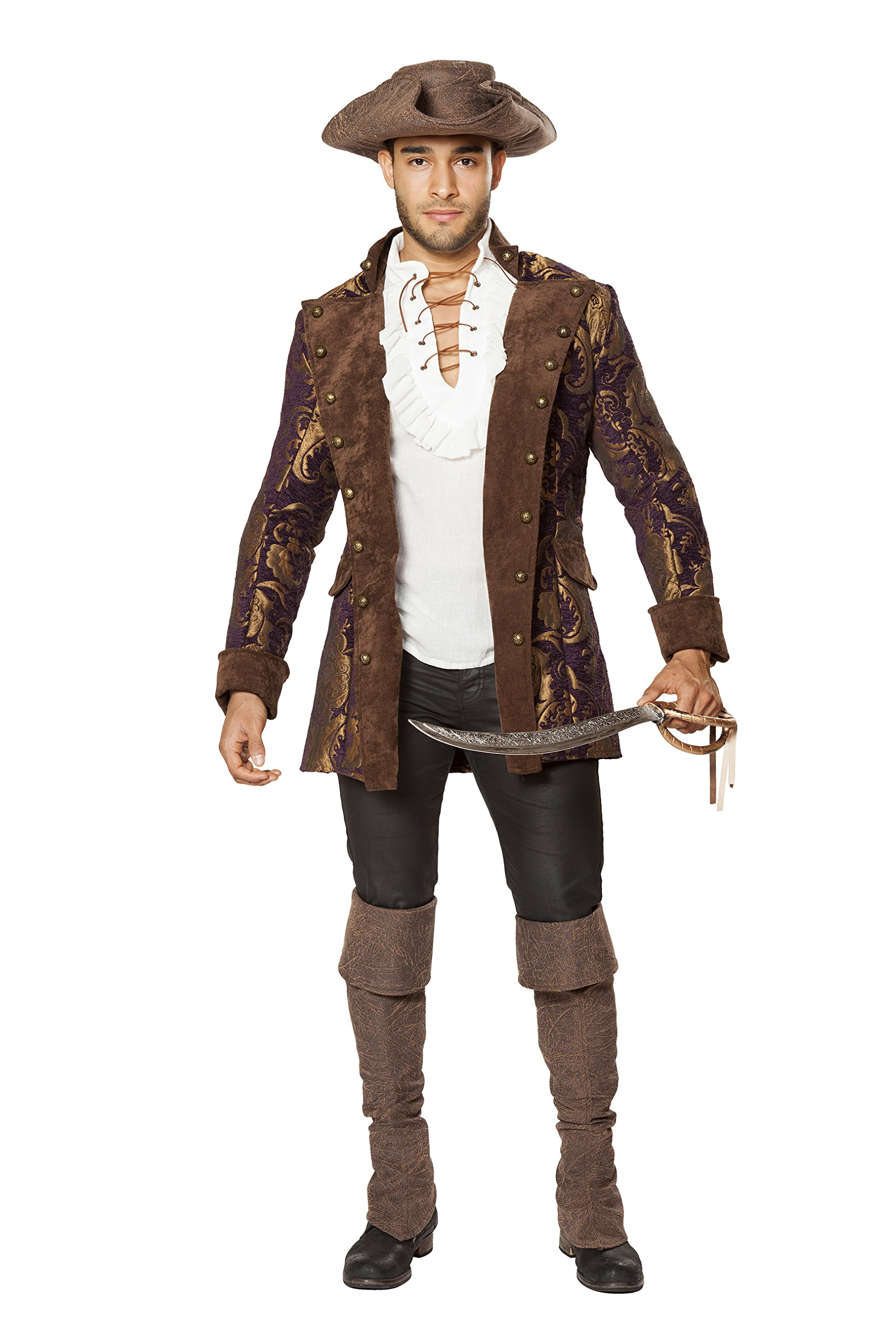 Captain Jack Sparrow Men's Brocade Embroidered Pirate Jacket Costume (XL) by Cyberteez