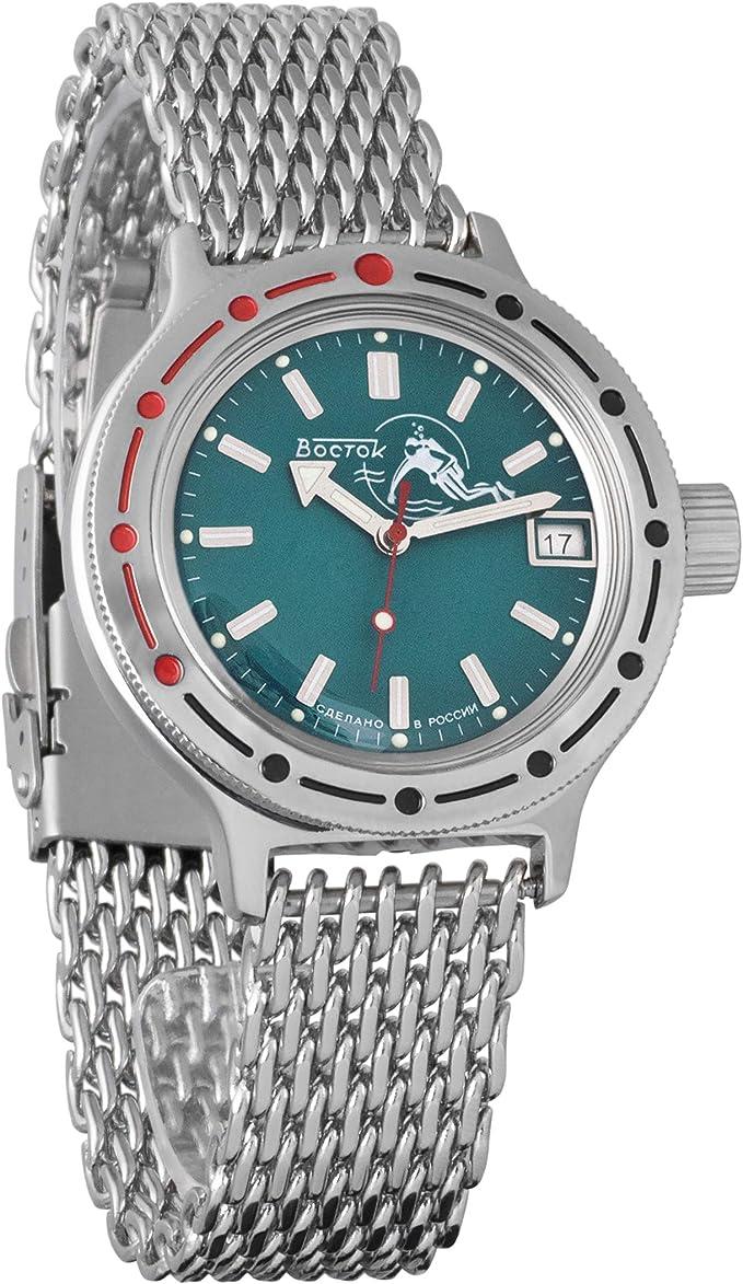 Amazon.com: Vostok Amphibian Automatic Self-Winding Russian Military Wristwatch #420059 (mesh): Watches