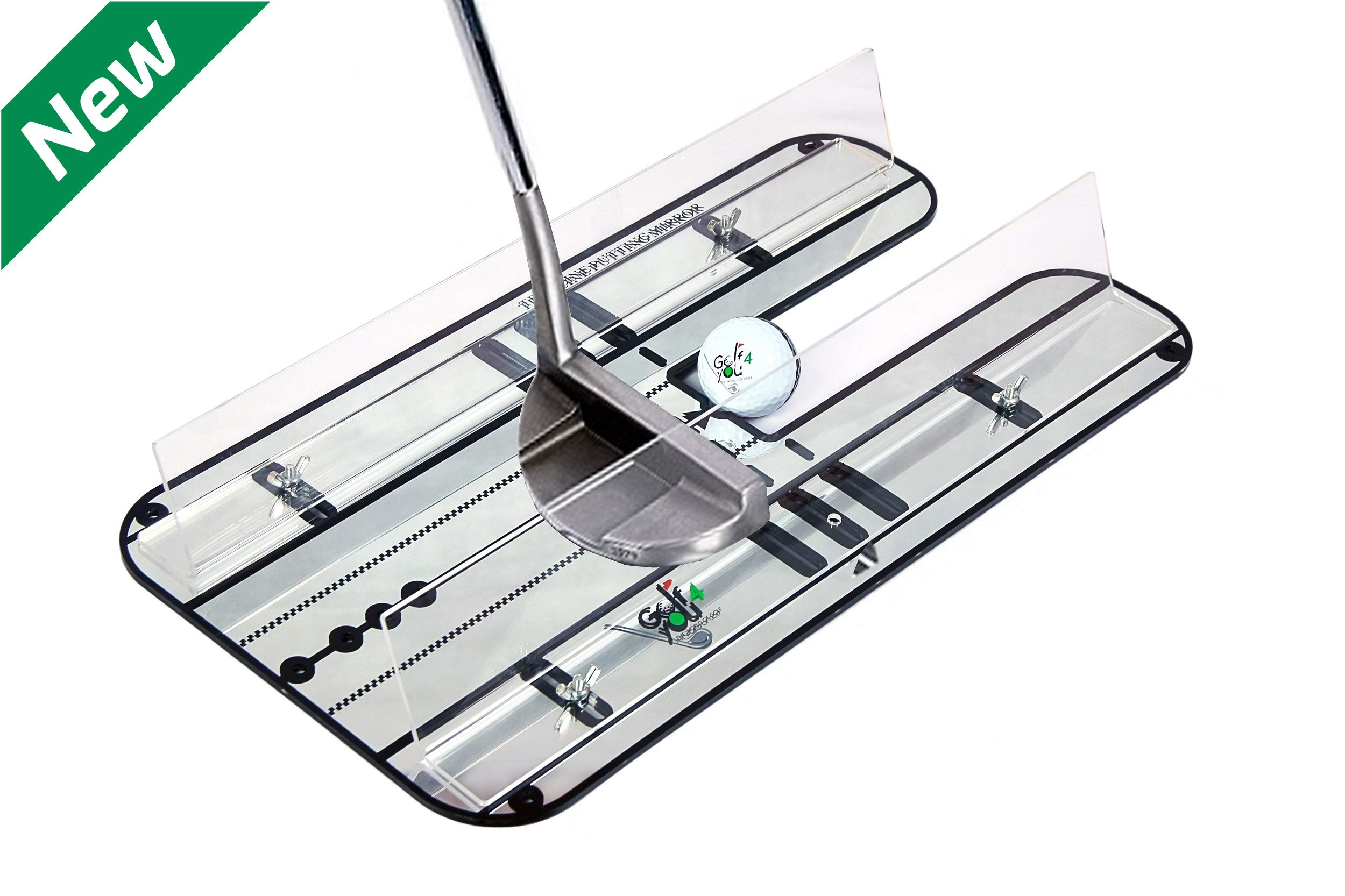 Golf Training Aid - Premium Putting Set - XL Alignment Putting Mirror Design with Our Exclusive Clear Adjustable Guide Rails - Leading Practice Aid for On-Line, Consistent Putting Stroke 17.5'' x 9.3''