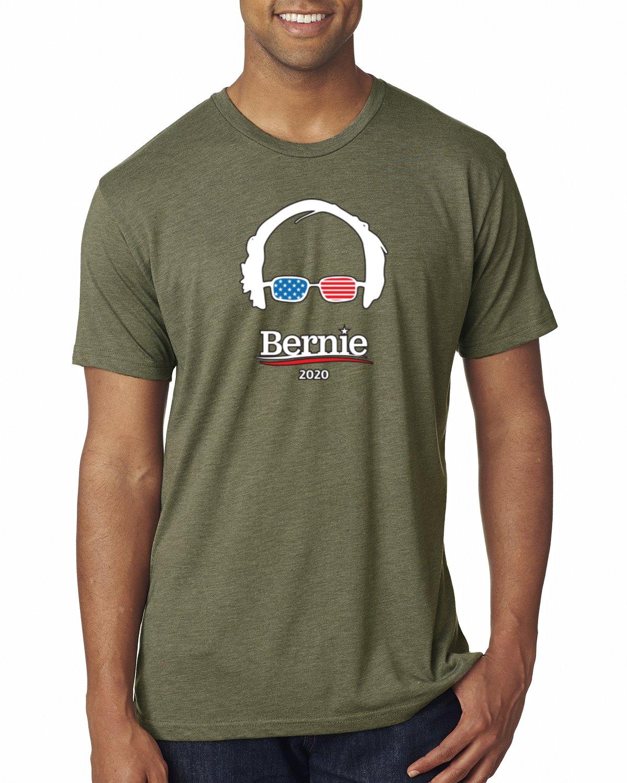 Bernie 2020 USA Glasses   Mens Political Premium Tri Blend T-Shirt, Military Green, Large