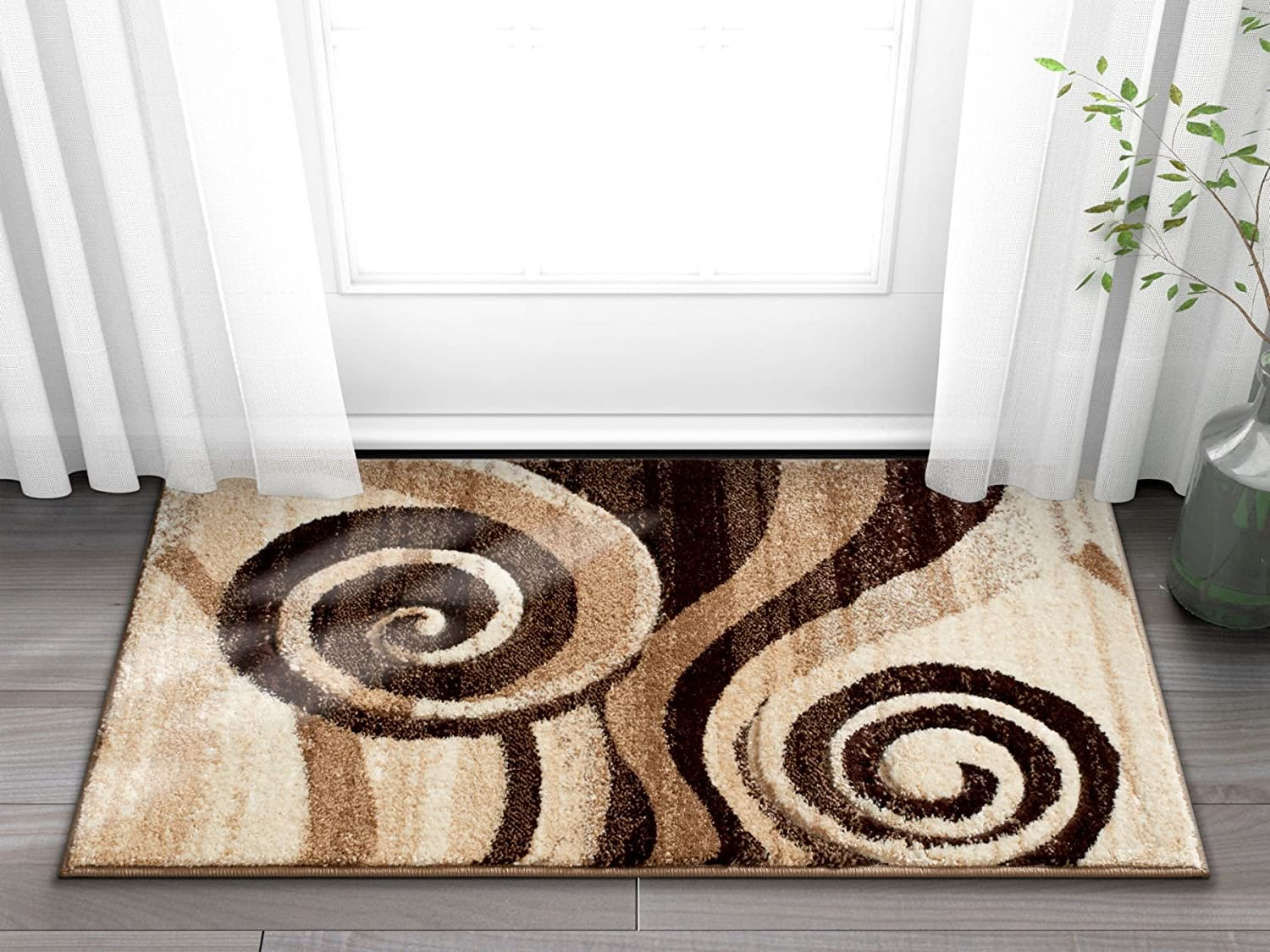 Amazon Com Well Woven Desert Swirl Brown Beige Modern Geometric Comfy Casual Spiral Hand Carved 2x3 2 X 3 Area Rug Easy To Clean Stain Fade Resistant Contemporary Thick Soft Plush Living Dining