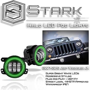 """4/"""" inch Fog Lamp Kit For 07-17 Jeep Wrangler JK 7/"""" inch LED Headlight Halo"""