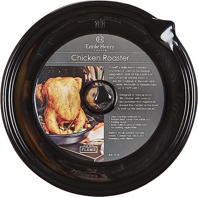 "Emile Henry Flame Ceramic Upright Chicken Roaster 10/""x2/"" France Red Kitchenware"