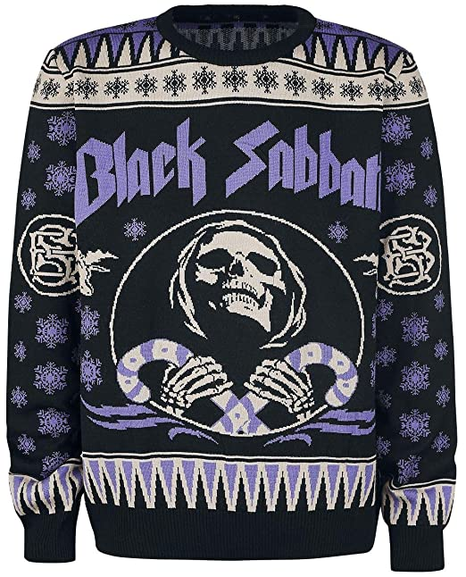 Black Sabbath Christmas Sweater.Black Sabbath Holiday Sweater 2017 Knit Sweater Black Lilac