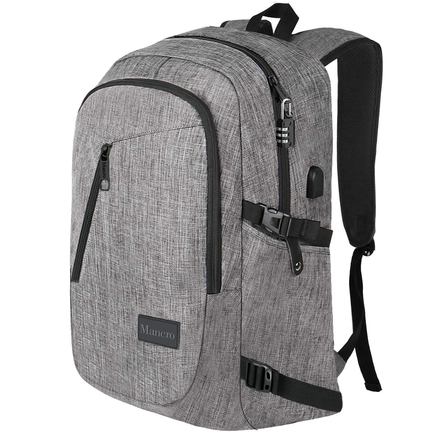 17.3 Inch Laptop Backpack, Large Travel Laptop Backpack with USB Charging Port, Anti Theft Water Resistant Business Backpack for Men and Women, Mancro Durable Lightweight School College Bag, Grey by Mancro