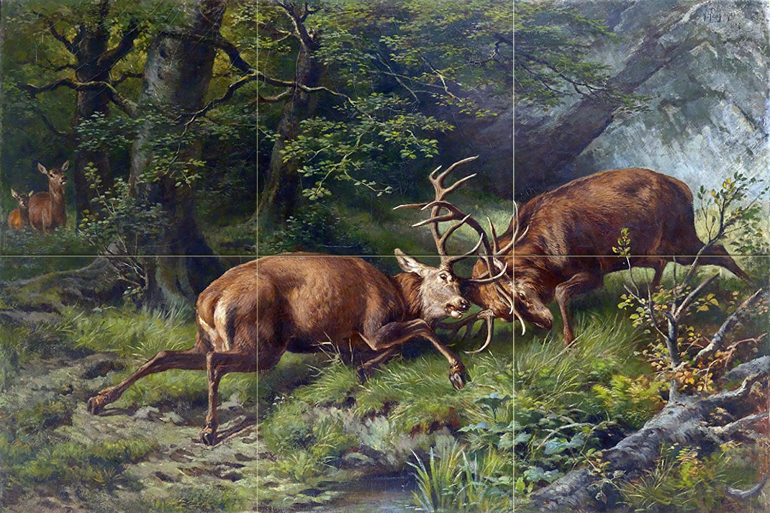 Fighting deer in the forest tile mural bathroom wall for Deer wall mural