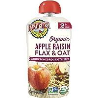 Earth's Best 2段有机婴儿食品袋装果泥,早餐苹果&葡萄干,适合6个月及以上婴儿,4.2盎司(113克)(12件装)包装可能有所不同