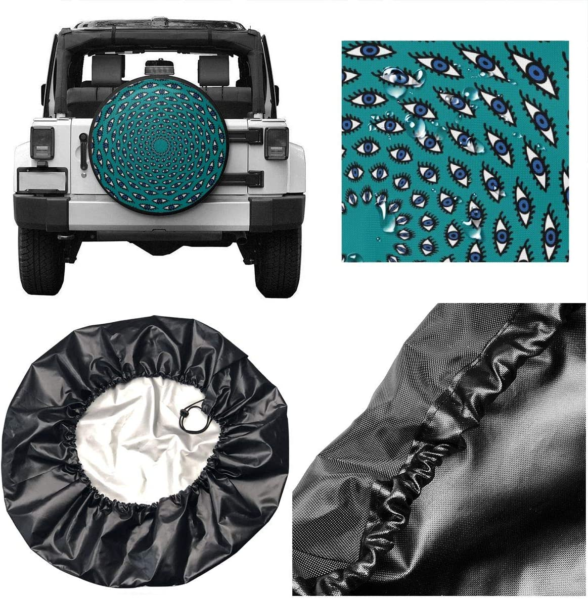 Spare Tire Cover Psychedelic Eyes Waterproof Universal Wheel Tire Protector Fit Jeep Trailer and Many Vehicle 14 15 16 17 DIY