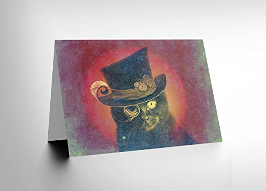 STEAMPUNK CAT TOPHAT MONOCLE BLANK GREETINGS BIRTHDAY CARD ART – Steampunk Birthday Card