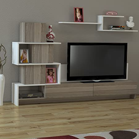 Design wohnwand straight  Wall Unit Amore - Avola/White TV Lowboard Floor Unit with Shelf and ...