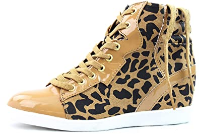 d9bb5ebadf57e Amazon.com | Tan Cheetah Print Women Wedge Sneakers | Fashion Sneakers