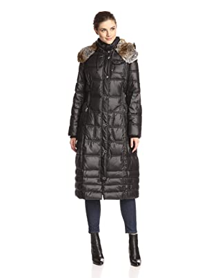 Laundry By Design Faux Fur Trim Hooded Quilted Puffer Coat Black