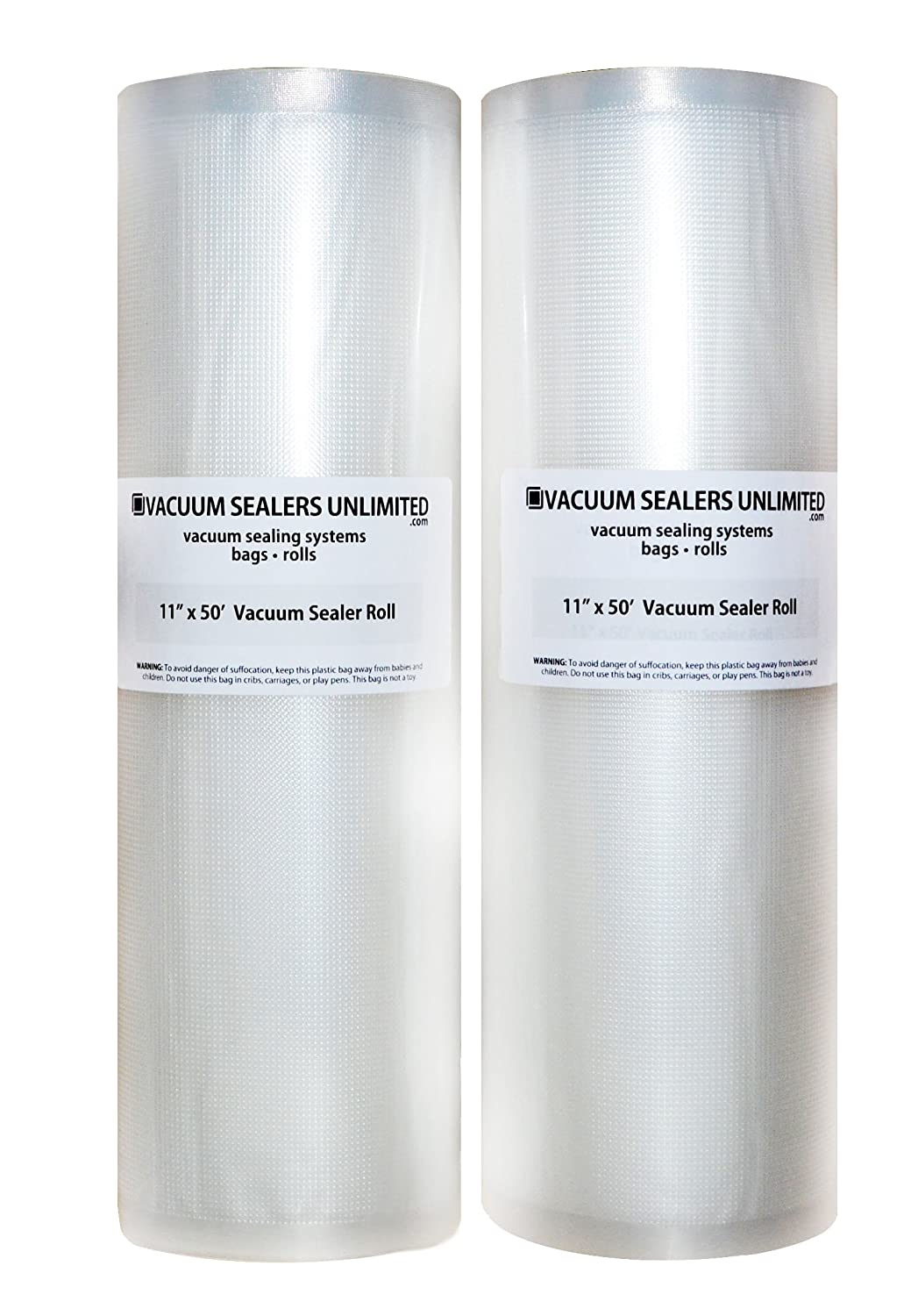 "2 Pack of Vacuum Sealers Unlimited - 11"" x 50' Rolls For FoodSaver, etc. - Thicker, Heavy-Duty Commercial Quality Textured Vacuum Sealer Bags - BPA Free & FDA Approved"