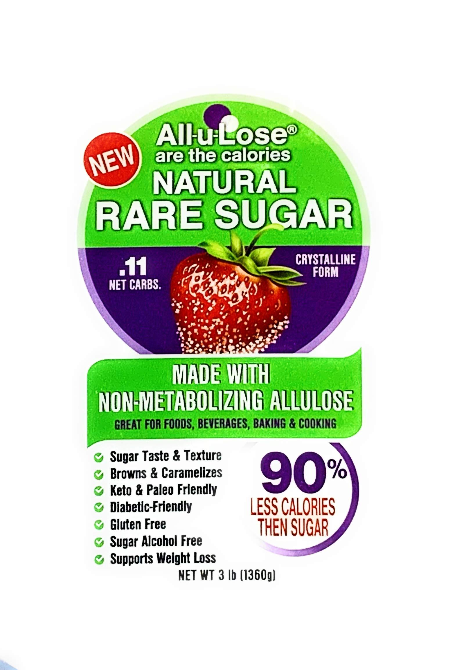 All-u-Lose Natural Rare Sugar Sweetener, Crystalline Allulose -- 3 lb. Stand-up Pouch by All-u-Lose