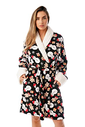 Just Love Sherpa Trim Plush Ugly Christmas Robes for Women at Amazon ... 109d1f1f9