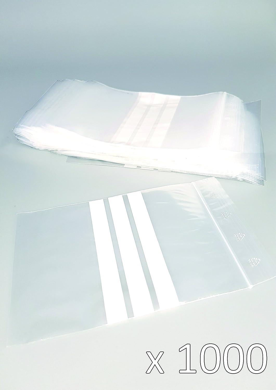 Bolsas de plástico con cierre zip con bandas blancas - 60mm x 80mm - paquete de 1000 piezas (10x100) - Apta para el contacto alimentario