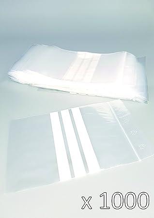 Bolsas de plástico con cierre zip con bandas blancas -100mm x 150mm - paquete de 1000 piezas (10x100) - Apta para el contacto alimentario