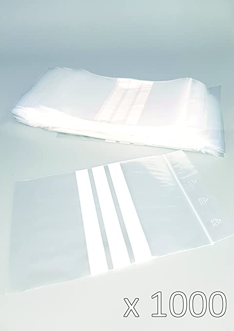 Bolsas de plástico con cierre zip con bandas blancas - 220mm x 280mm - paquete de 1000 piezas (10x100) - Apta para el contacto alimentario