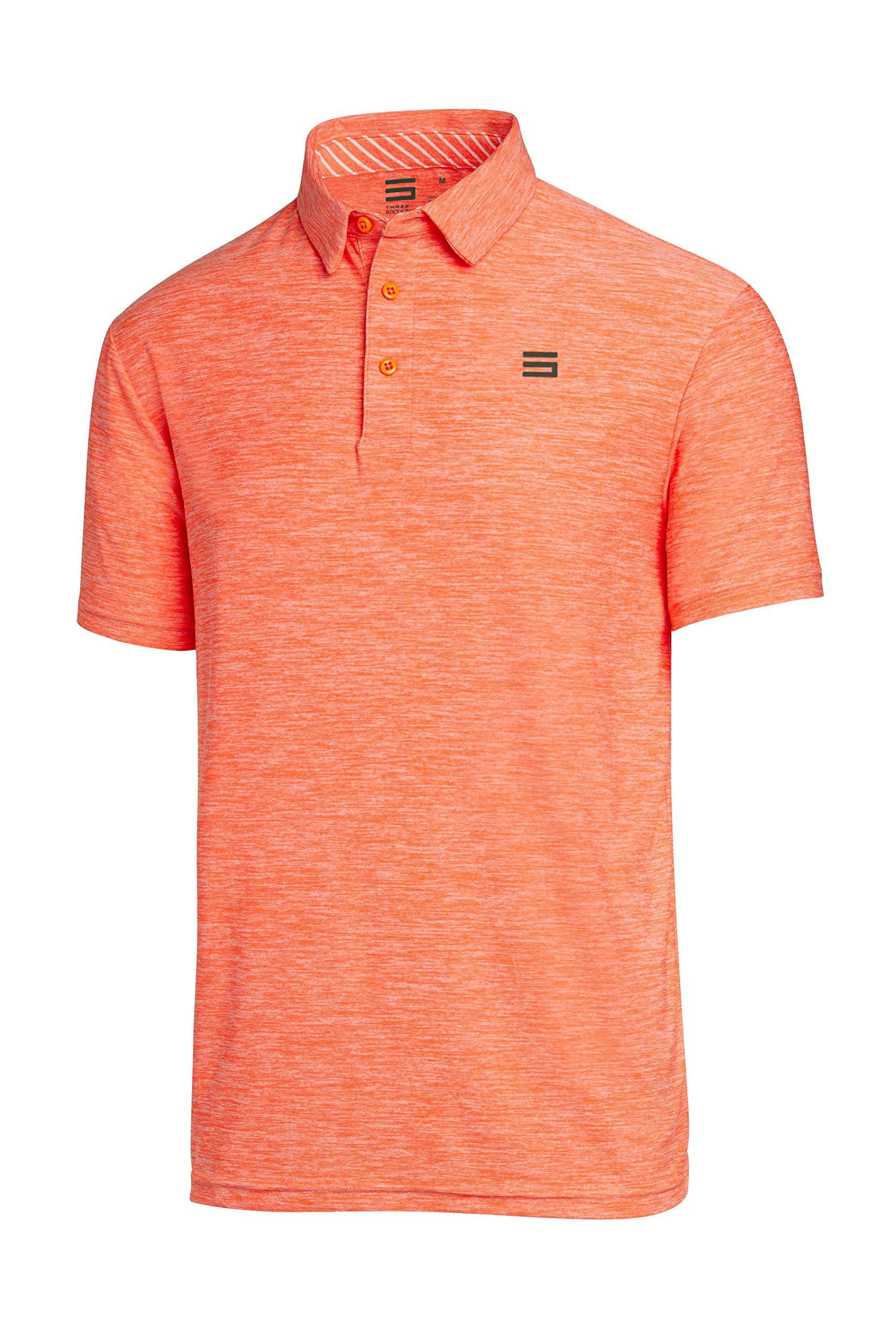 Three Sixty Six Golf Shirts for Men - Dry Fit Short-Sleeve Polo, Athletic Casual Collared T-Shirt Orange by Three Sixty Six