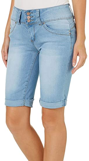 966d1266654 Image Unavailable. Image not available for. Color  YMI Juniors  Wannabettabutt Roll Cuff Denim Bermuda Shorts 1 Light wash