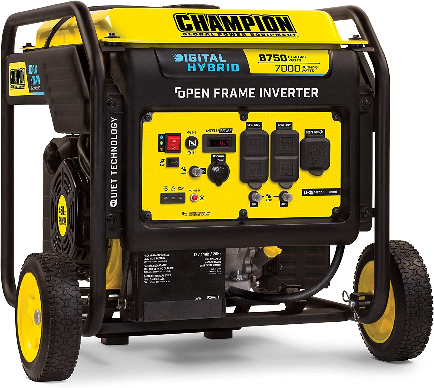Champion Power Equipment 100520 8750-Watt DH Series Open Frame Inverter with Electric Start, Black/Yellow